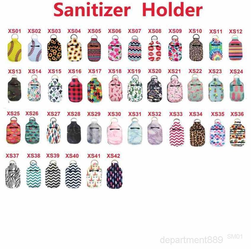 Neoprene Hand Sanitizer Bottons Batom Batom Capa Bolsa Chaveiro Printing Chapstick Holder 30ML DHD325