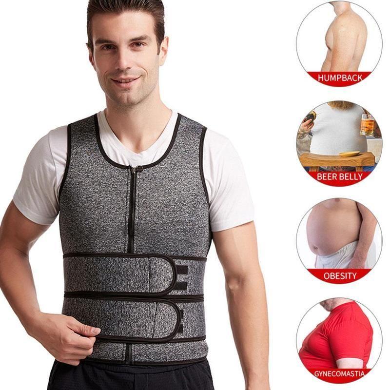 Men's Double Waist Belt Vest Shapewear Reinforced Sweat Sports Waist Abdomen Tunic Rubber Belt Corset