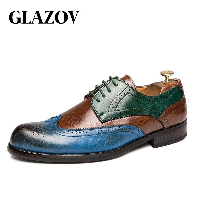 Große Größe 38-47 Männer Oxfords Leder Schuhe Britische grüne blaue Schuhe Handgemachtes Komfortables Abendkleid Männer Wohnungen Lace-up Bullock Y200420