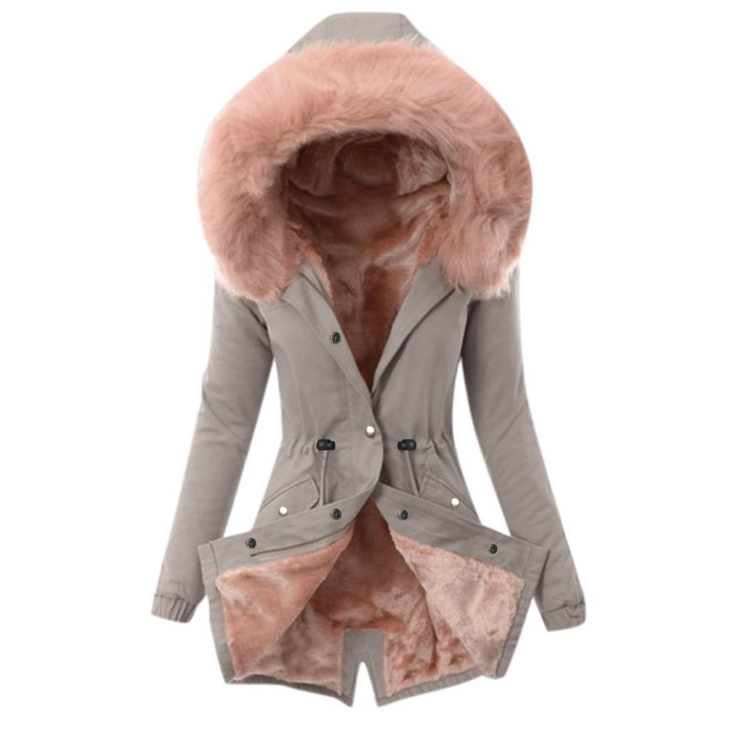 Nuovo stile cotone fodera di rifornimento di moda collo in pelliccia inverno cappotto invernale donna media lunghezza con cappuccio parka 201125