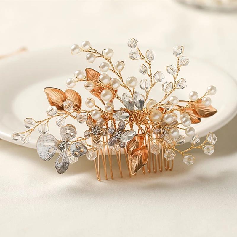 Lüks El Yapımı Simüle İnciler Rhinestione Saç Tarak Altın Renk Kafa Kadın Saç Klip Saç Pin Gelin Düğün Headdress