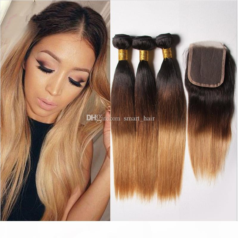 Honey Blonde Brazilian Ombre Straight Hair Bundles With Lace Closure Dark Roots #1B 4 27 Hair Weaves With Top Lace Closure
