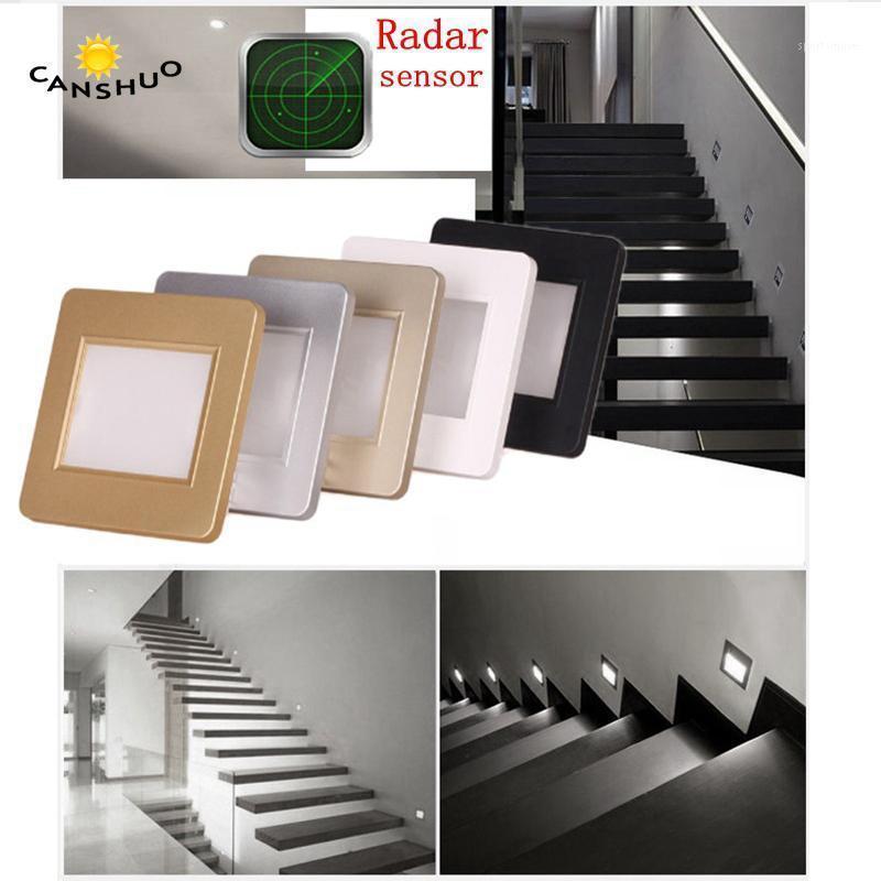 10pcs/lot Light sensor led stair light motion human body induction radar sensor recessed steps ladder wall lamp with 86box1