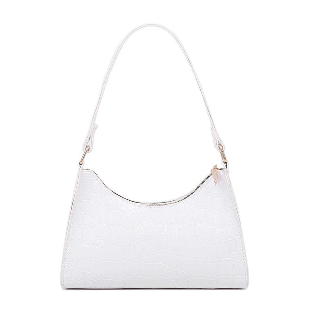 HBP الأزياء رائعة حقيبة التسوق الرجعية عارضة المرأة حقائب الكتف حقائب الإناث الجلود الصلبة لون سلسلة حقيبة يد الأبيض