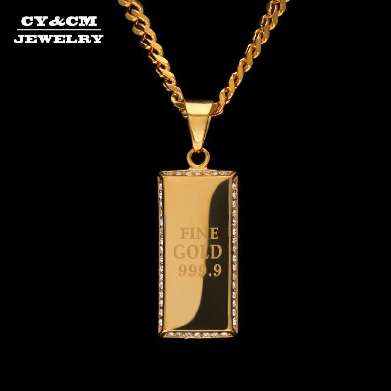 CYCM Erkekler Kadınlar Paslanmaz Çelik Köpek Etiketi Ordu Kart Parlak CZ Rhinestones Kolye Punk Takı Altın Hip Hop Kolye Küba Zinciri