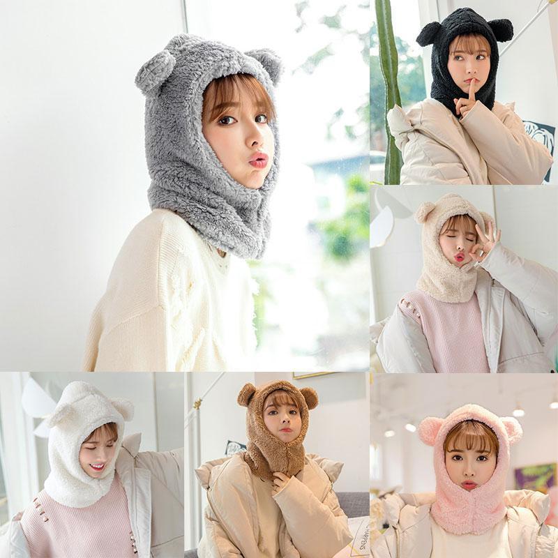 Ins Kış Sevimli Satış Sevimli Ayı Kulakları Sıcak Şapka Rüzgar Geçirmez Boyun Eşarp Kap Öğrenci Kadınlar Artı Kaşmir Kap