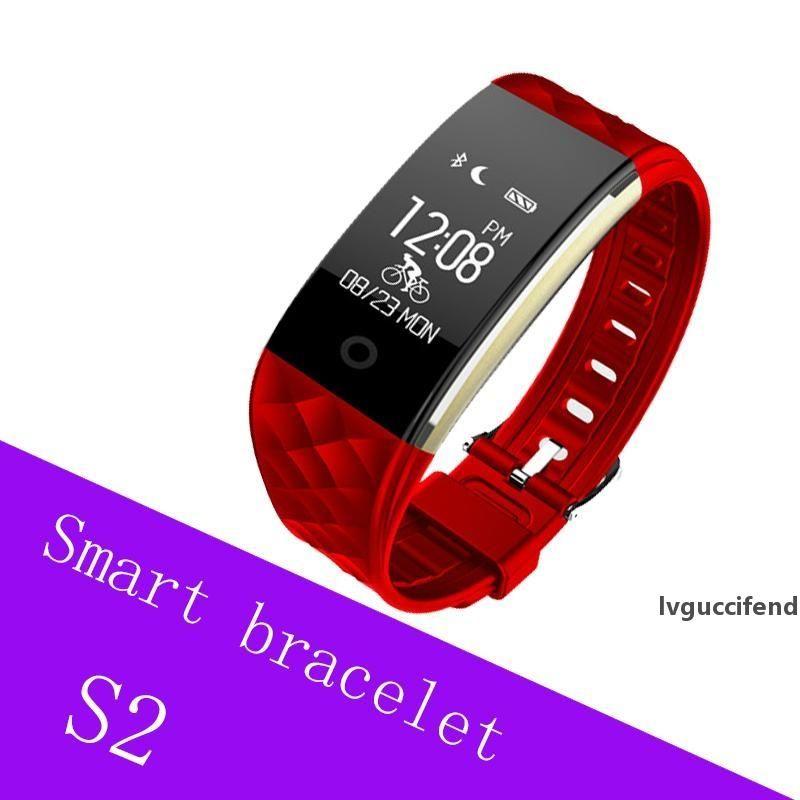 Inteligente Banda S2 Pulsera de monitor de ritmo cardíaco podómetro IP67 a prueba de agua pulsera SmartBand Para Android IOS Teléfono