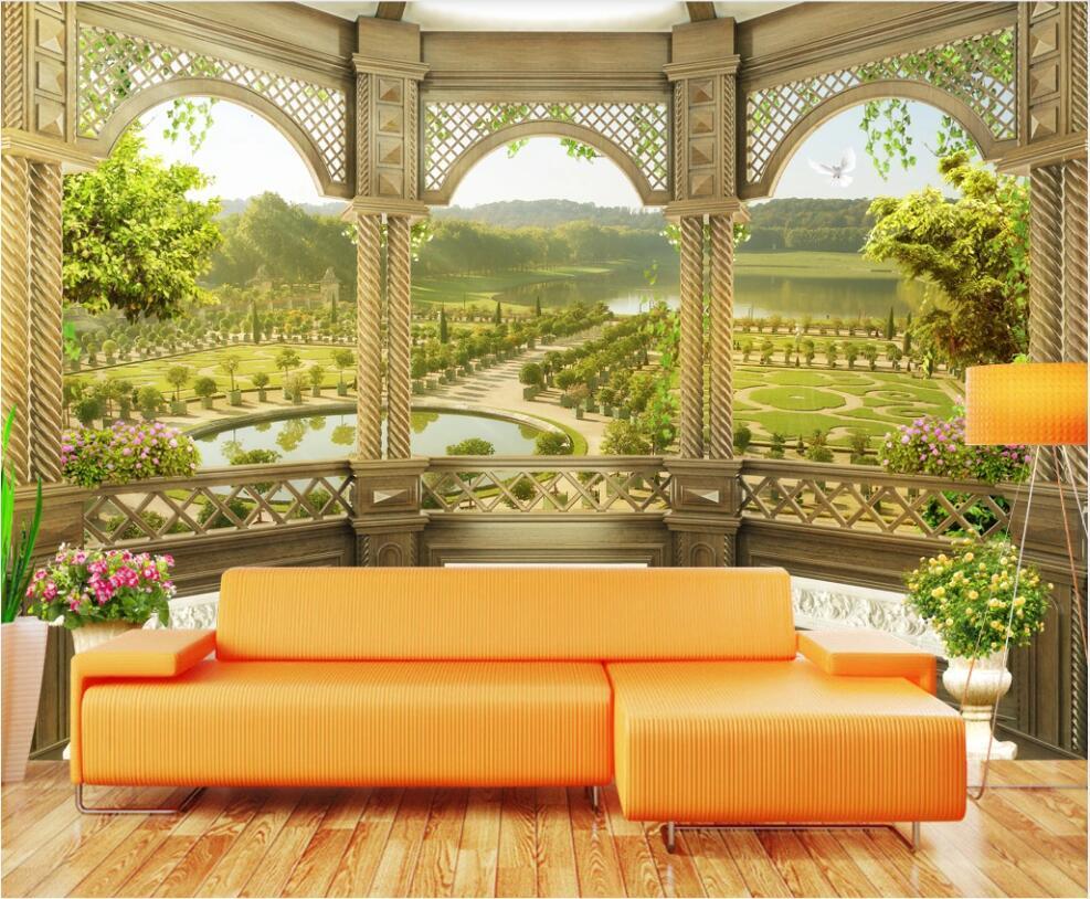 3D обои пользовательские фото европейские римские колонны пастырский пейзаж гостиная домашняя декор 3D настенные фрески обои для стен 3 д