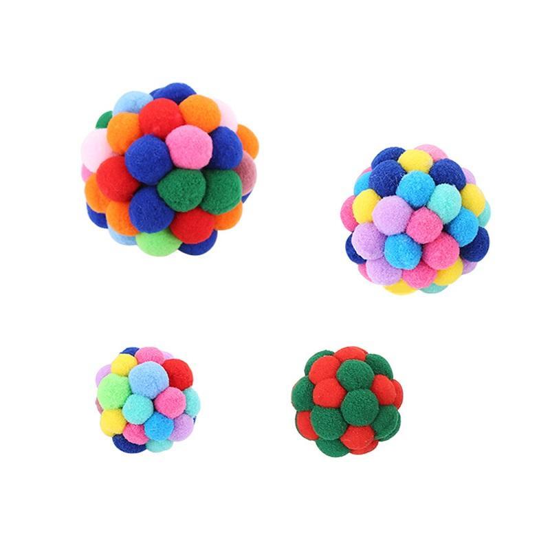 Handmade Small Bell Ball Ball Colorful Kitty Cats Elastico Palle Palle Animali Giocattoli Cat Toy Supplies Cotton Flessibile Divertimento flessibile di alta qualità 3 8SI M2