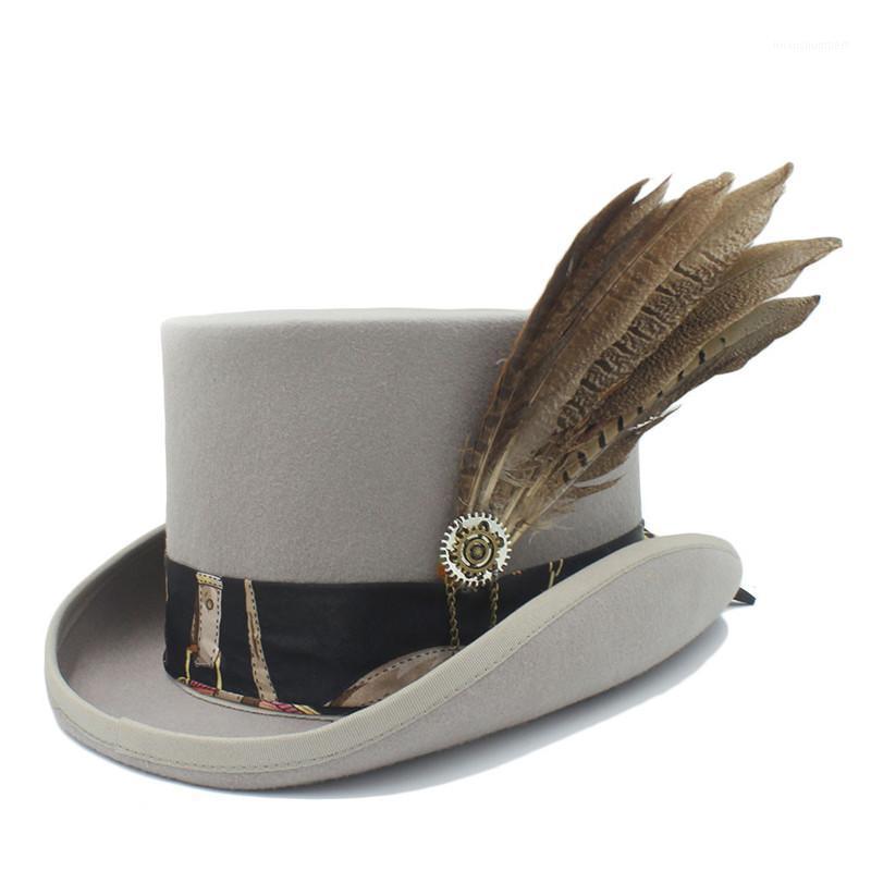15 cm (5.81 inç) Üst Şapka Yün Kadın Erkek Steampunk Silindir Fedora Şapka İşi Deri Sihirli Cosplay Parti Kapaklar Dropshipping1