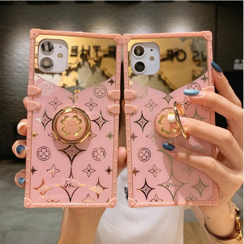 럭셔리 스퀘어 미러 핑크 전화 케이스 아이폰 11 Pro xs max xr x 10 12 6 7 8 플러스 핫 패션 링 홀더 스탠드 커버 coque
