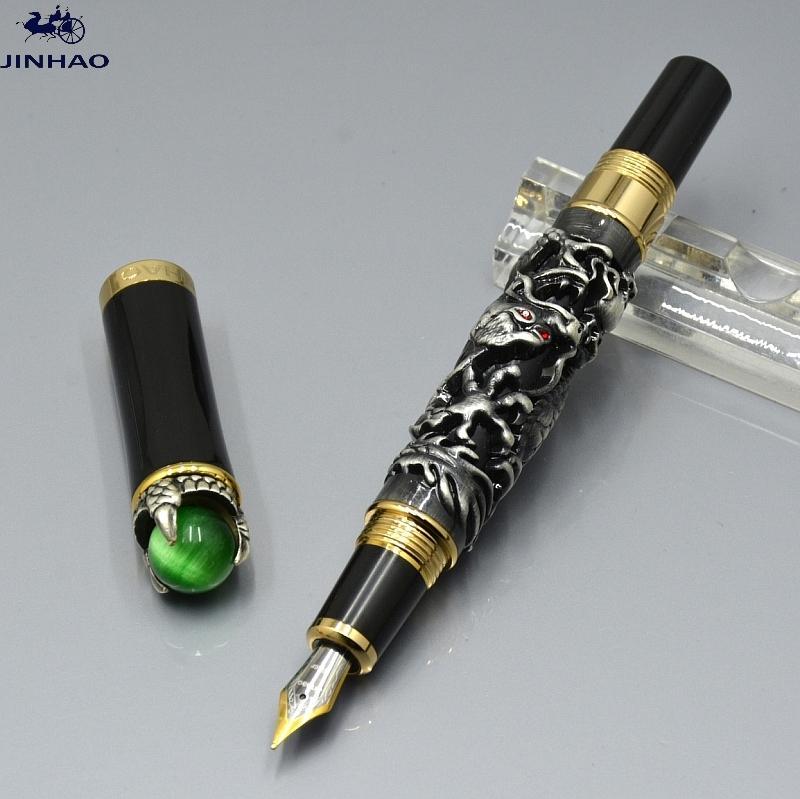 جودة عالية Jinhao القلم التنين الخاص النقش 18 كيلو إيروريتا المنقار نافورة القلم الفاخرة مكتب اللوازم مكتب الكتابة أقلام الحبر السلس