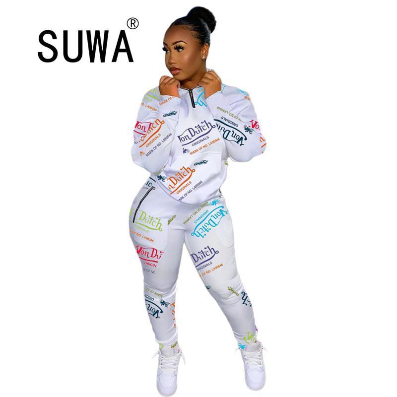 Jogger Women Tracksuit de dos piezas Set de dos piezas de manga larga Chic Impresa sudadera superior y cintura alta pantalones deportivos trajes casuales