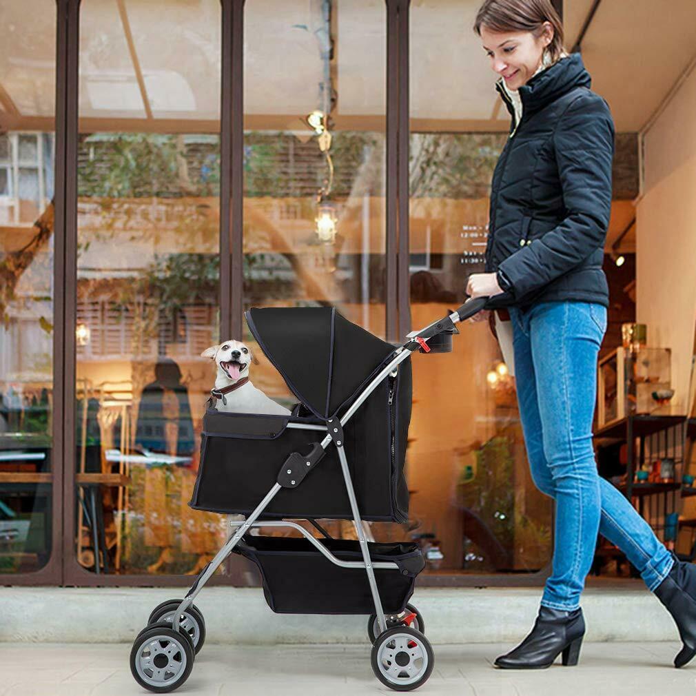 4 Tekerlekler Pet Arabası Kedi Köpek Kafesi Gezginci Seyahat Katlanır Taşıyıcı 5 Renk 04T