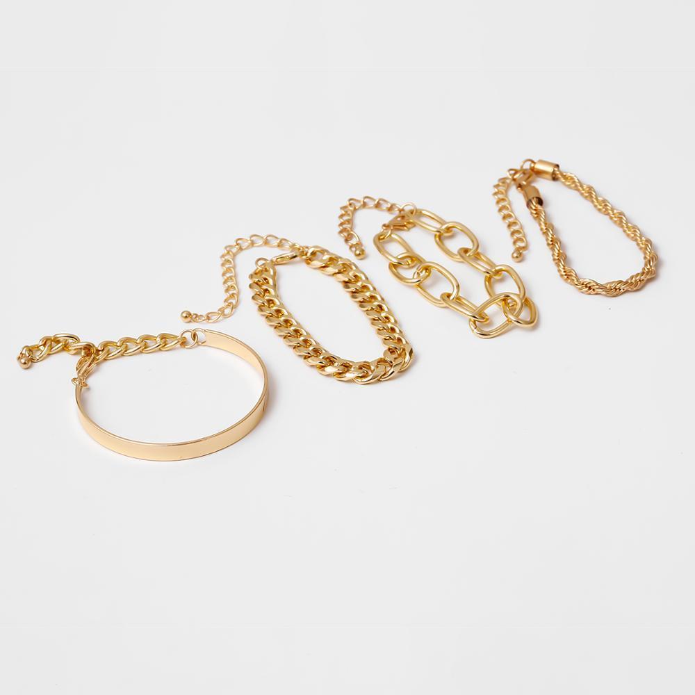 IngeSight.Z 4Pcs/Set Hip Hop Chunky Thick Miami Curb Cuban Bracelets Bangles Punk Metal Twisted Rope Chain Bracelet Jewelry Gift