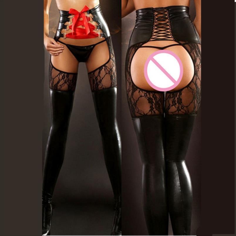 Faux Lederhose Offene Schritt Sexy Dessous Frauen Spanking Catsuit Spandex Nass Look Clubwear Leggings Fetisch tragen erotische Kostüme