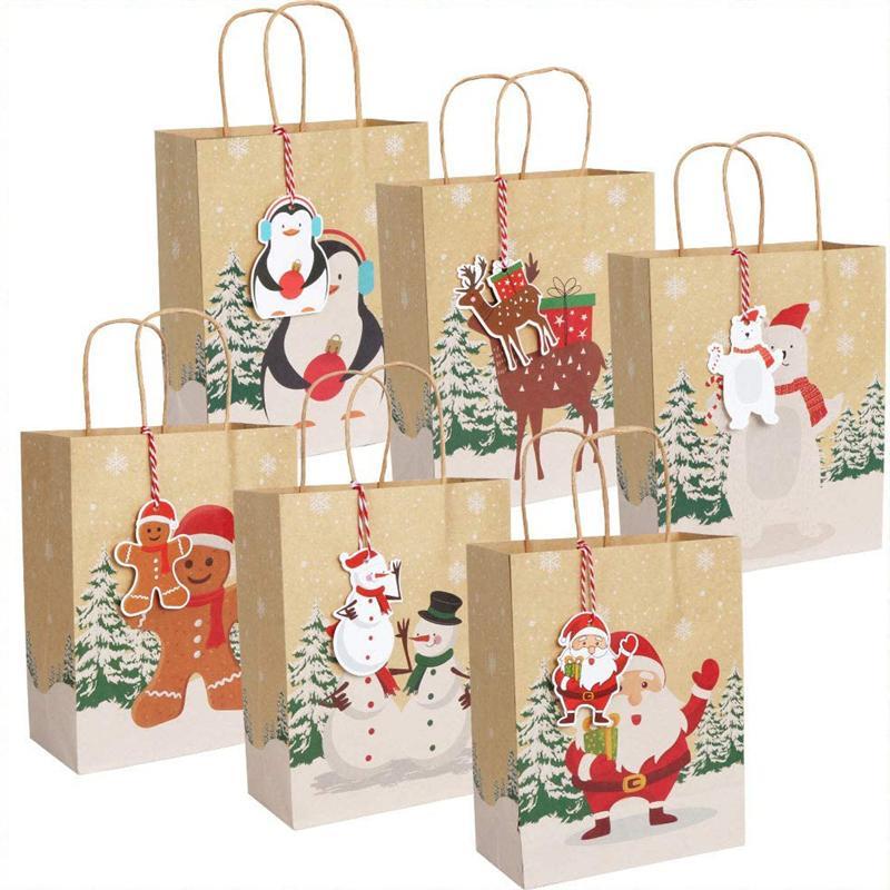 Sacchetti regalo di Natale Sacchetto di carta Kraft con manico e tags regalo Pacchetto di caramelle Xmas Decor Forniture del partito JK2011KD
