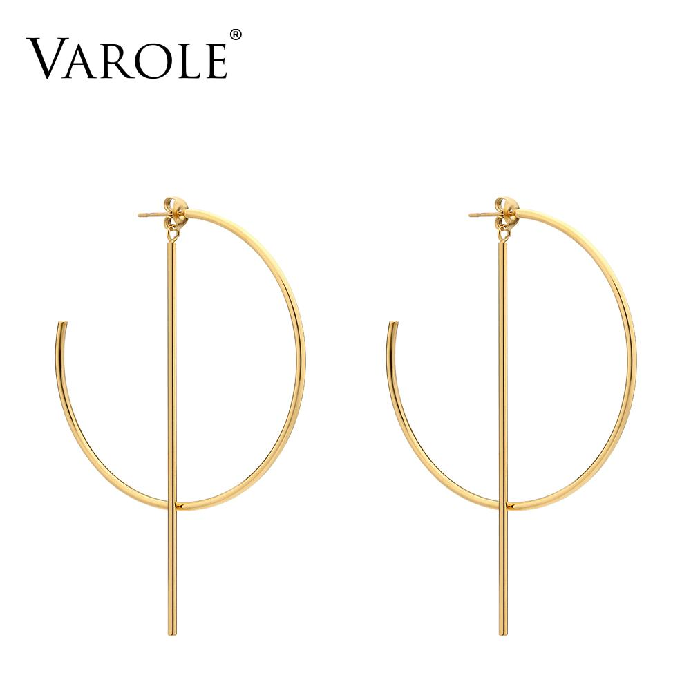VAROLE Circle Line Dangle Earrings Gold color Earings Stainless steel Drop Big Earrings For Women Long Earring Jewelry brinco