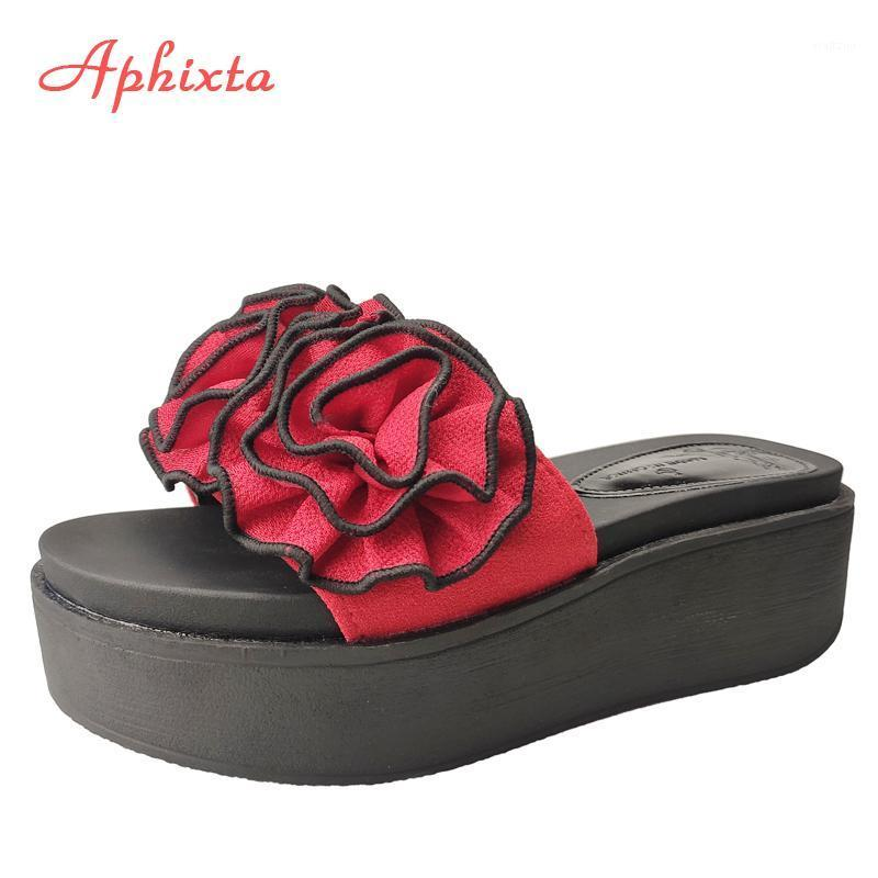 Aphixta rote blumen plattform pantoffel frauen sticker strand 6cm keilabsatz schuhe colog schieben gleiten flop sandalen schuhe für frauen1