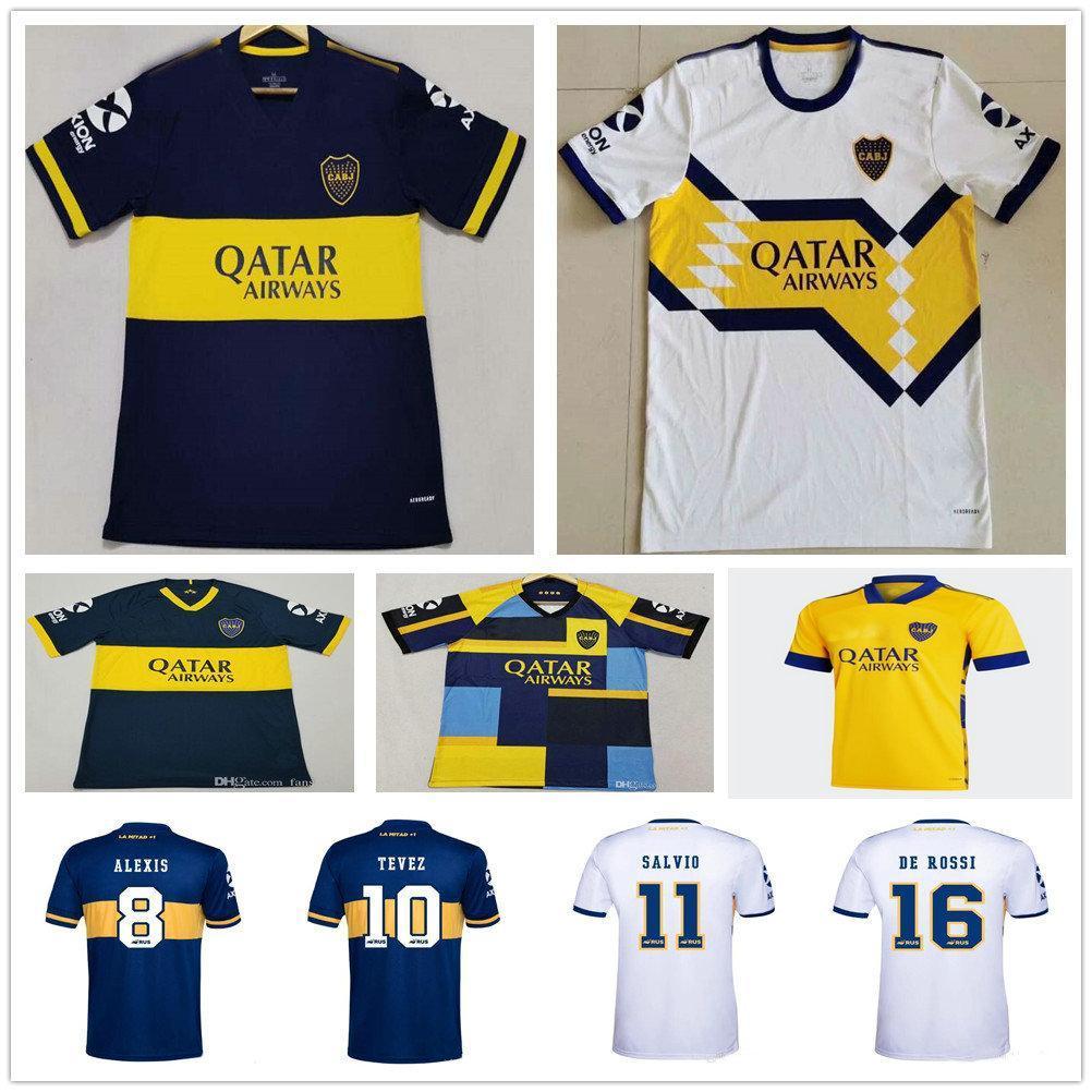 NCAA 20 21 Boca Juniors Third Soccer Jersey SALVIO TEVEZ DE ROSSI CARDONA MARADONA 2020 2021 Bombonera 80th Anniversary Yellow Football Shir