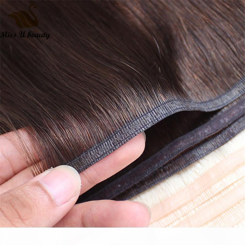 Trama ultra delgado de cabello muy suave cabello humano trama cinta de seda plana extensiones de cabello 2 paquetes brwon rubia vino color rojo