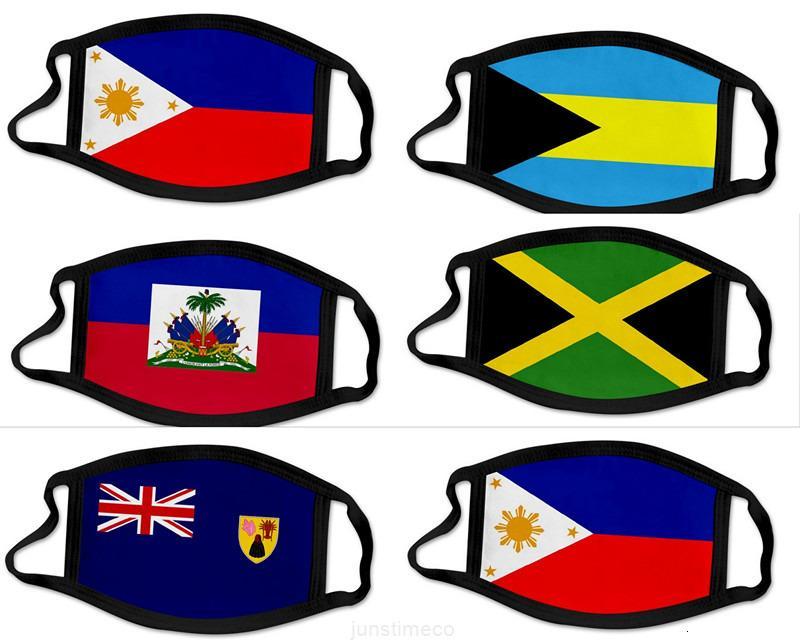 Yüz 3d ABD Yıkanabilir Ulusal Bayrak Pamuk Baskı Maskeleri Maske Nefes Resuarable Kadınlar Adam Moda Bahams Haiti Maskesi