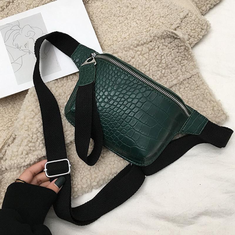 Cross Fashion Patrón de un solo patrón de hombro Casual ajustable cremallera PU Cuero de cuero Paquete de cocodrilo Pecho Cierre Mujer Cinturón Cinturón Tagako