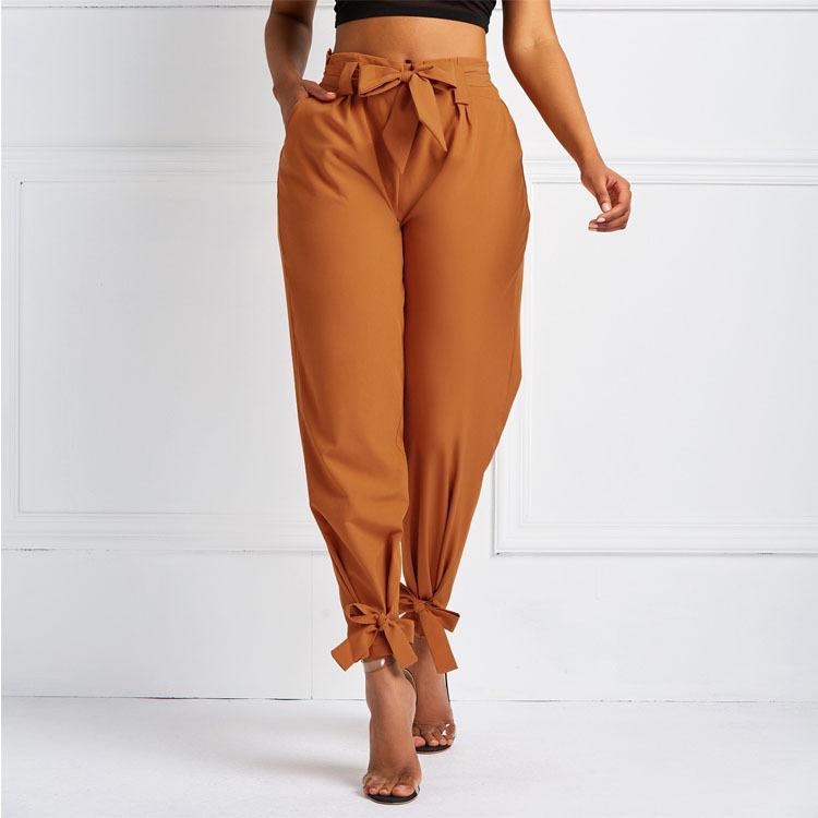 Donne Summer Harem Pantaloni con cintura a vita Bowtie Pantaloni solidi Signore Casual Moda Medio Vita Girls Street Fashion Abbigliamento 201106