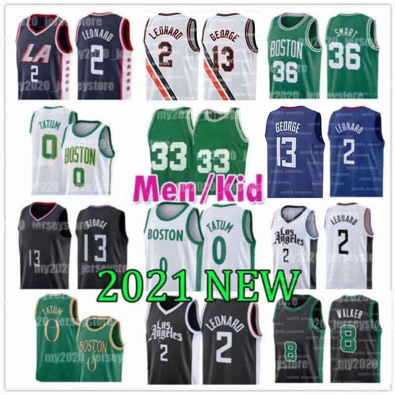 Boston Celtics Larry 33 Bird Los Leonard Angeles LA Clippers 2 Kawhi Basketball-Trikots 8 Kemba 0 Tatum Walker Jayson Paul 13 George Gordon Jaylen Hayward Brown Marcus 36 Smart