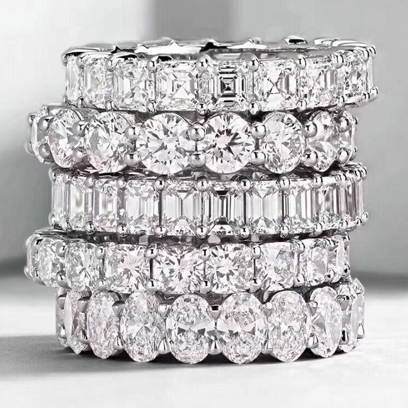 Choucong Vintage Moda Takı Gerçek 925 Ayar Gümüş Prenses Beyaz Topaz CZ Elmas Eternity Kadınlar Düğün Nişan Band Yüzük Hediye