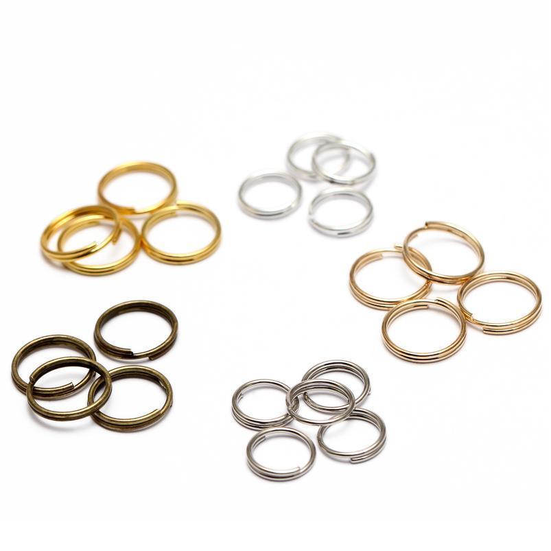 200pcs / lot 5 6 7 8 10 12 14 mm Chaînes de touches ouvertes Jump Bagues Double boucles Double Couleur Gold Split Rings Connector Jllpnt