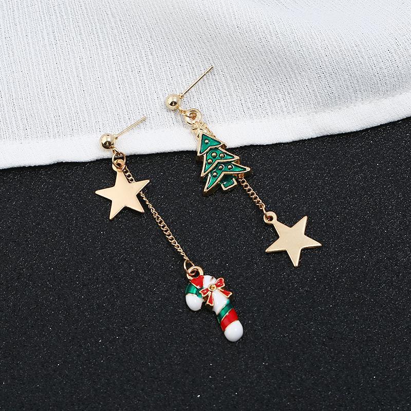 Горячие рождественские украшения стильные рождественские звезды звезды пентаграммы асимметричные серьги ювелирные изделия для подарка