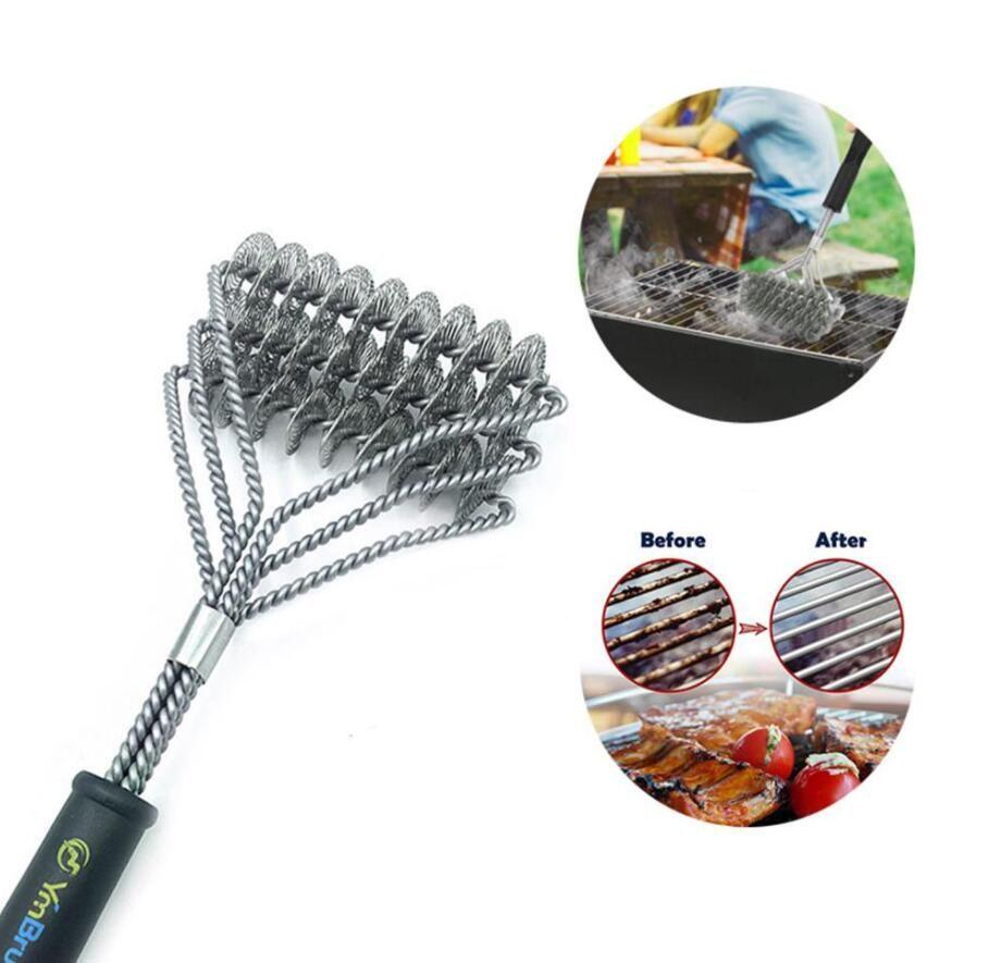 حار جديد شواء فرشاة تنظيف فرش الشواية للشواء الفولاذ المقاوم للصدأ طويل مقبض منظف الطبخ تنظيف فرش bbq أدوات ahf3298