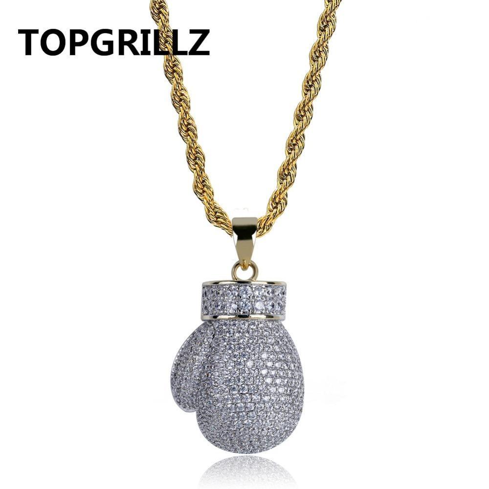 Topgrillz Gold Couleur Silver Couleur Mini Boxing Gant Pendentif Collier Hommes Ifed Out Cubic Zircon Chaînes Hip Hop / Punk Charms Bijoux Cadeau Y1220