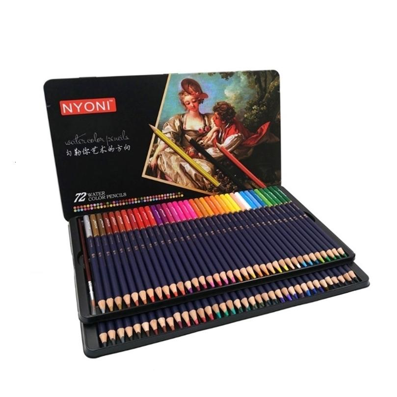 Premium Yumuşak Çekirdek Suluboya Kalemler 12 24 36 48 72 Lapis De COR Profesyonel Suda Çözünen Renkli Kalem Sanat Okulu Malzemeleri 20123