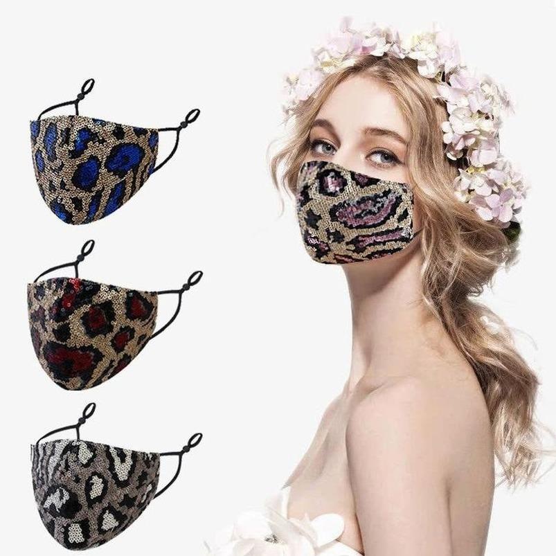 Ayarlanabilir döngü fy9240 Yeni 2021 Biden Payet leopar desenli yüz maskeleri yaz çift katmanlı kumaş maske toz ve pus önleme
