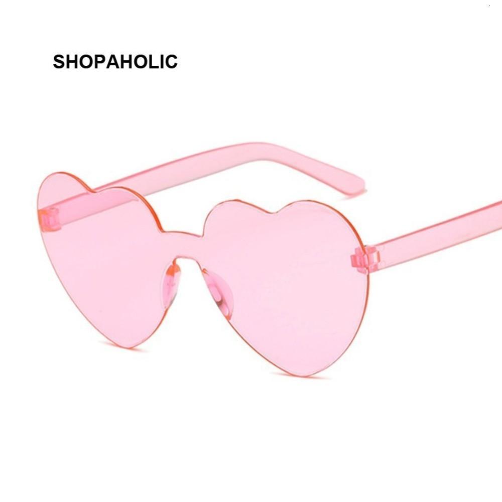 Nuevo una pieza amor corazón lente gafas de sol mujeres transparente estilo plástico gafas de sol femenino claro caramelo color dama