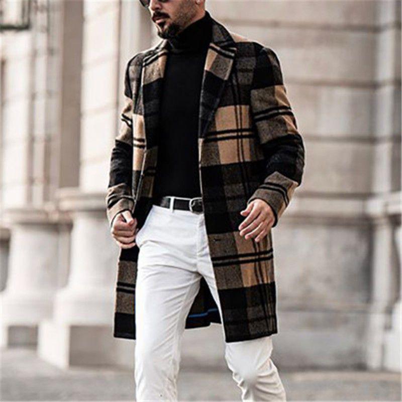 رجل شعرية معطف الصوف مصمم الشتاء نمط البريطانية التلبيب الرقبة طويلة الأكمام فضفاض خندق معاطف الأزياء الاتجاه عارضة بلون اللون قميص