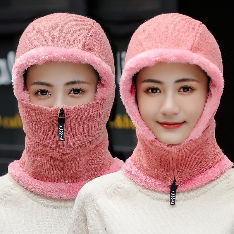 Balaclava mulheres de malha chapéu lenço caps pescoço aquecedor inverno chapéus para mulheres eslásticos gorros quentes H118