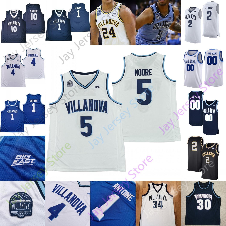 사용자 정의 2020 Villanova Wildcats 농구 저지 NCAA 대학 Bey Collin Gillespie Lowry Paschall Eric Dixon Dhamir Cosby-Roldtree