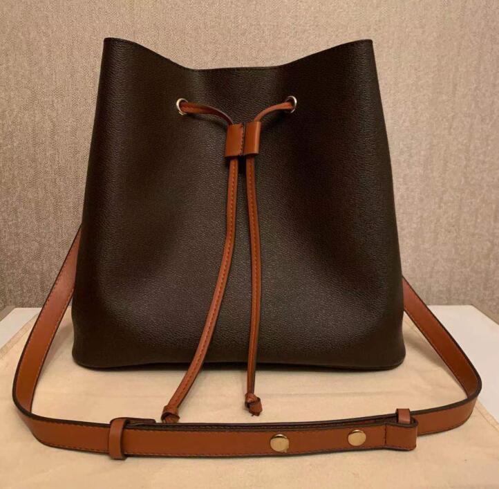 HH New bucket bag Fashion top quality leather Shoulder bag women famous Drawstring tote handbags flower printing crossbody purse M44512