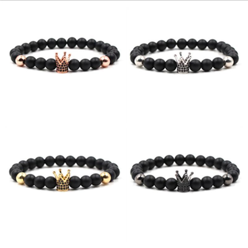 Pulseras de piedra natural Pulseras de la corona de la corona de la corona de la alta calidad Hecho a mano brazaletes de la pulsera para los hombres de las mujeres joyería