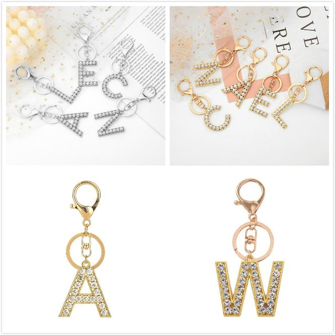 26 إلكتروني المفاتيح الذهب والفضة الأبجدية كيرينغ السوار مفتاح سلسلة المعصم حزام مفتاح المنظم حامل الكرتون الملحقات