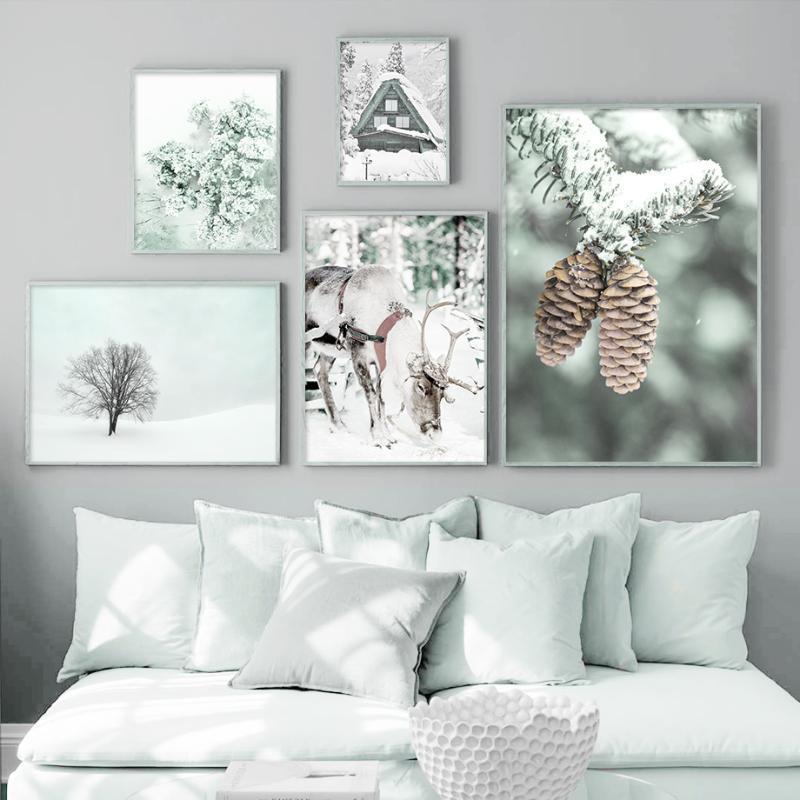 Alpi Neve Casa Montagna Cervo Pineta Albero nordici Poster e stampe di arte della parete della tela di canapa della parete della pittura Immagini per Living Room Decor