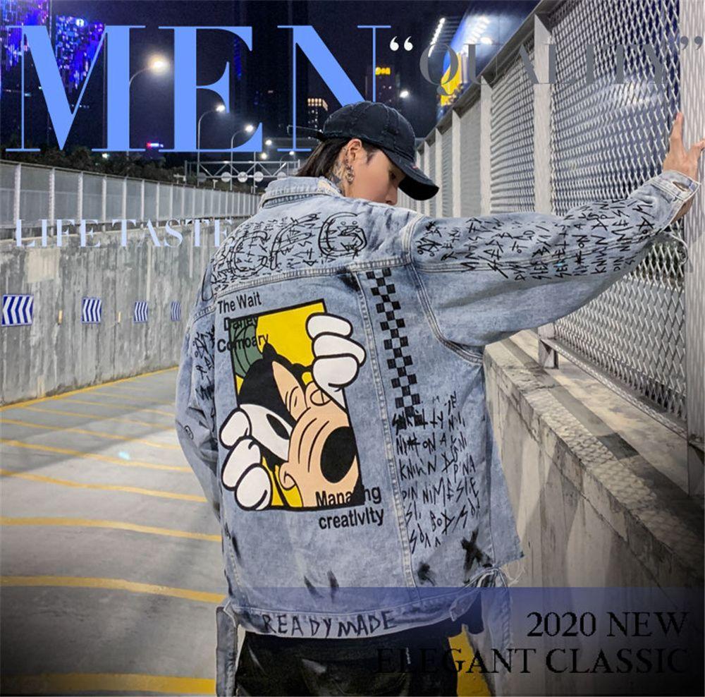 Hip Hop Het Harajuku Streetwear Dibujos animados impreso Bomber Denim 2020 Abrigo lavado de algodón lavado de otoño Jean
