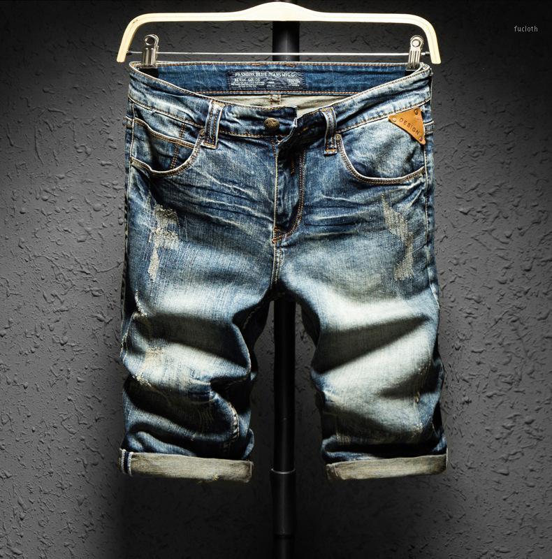 Мужские джинсы летний стиль мужчины джинсовые роскоши тонкие растягивающие шорты на молнии прямые мото байкерские брюки для 1