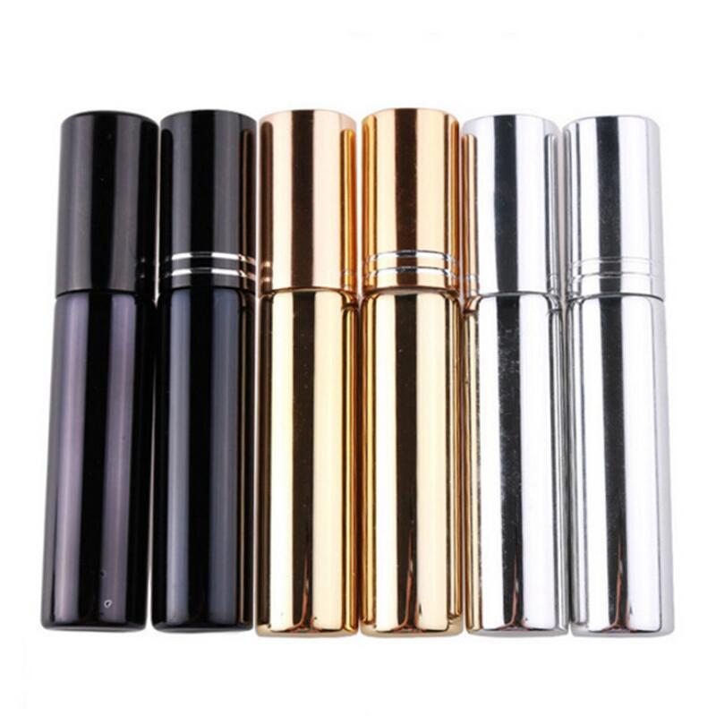 10ml UV 도금 분무기 미니 리필 가능한 휴대용 향수 병 스프레이 병 샘플 빈 용기 골드 실버 블랙 컬러 ZZC3168