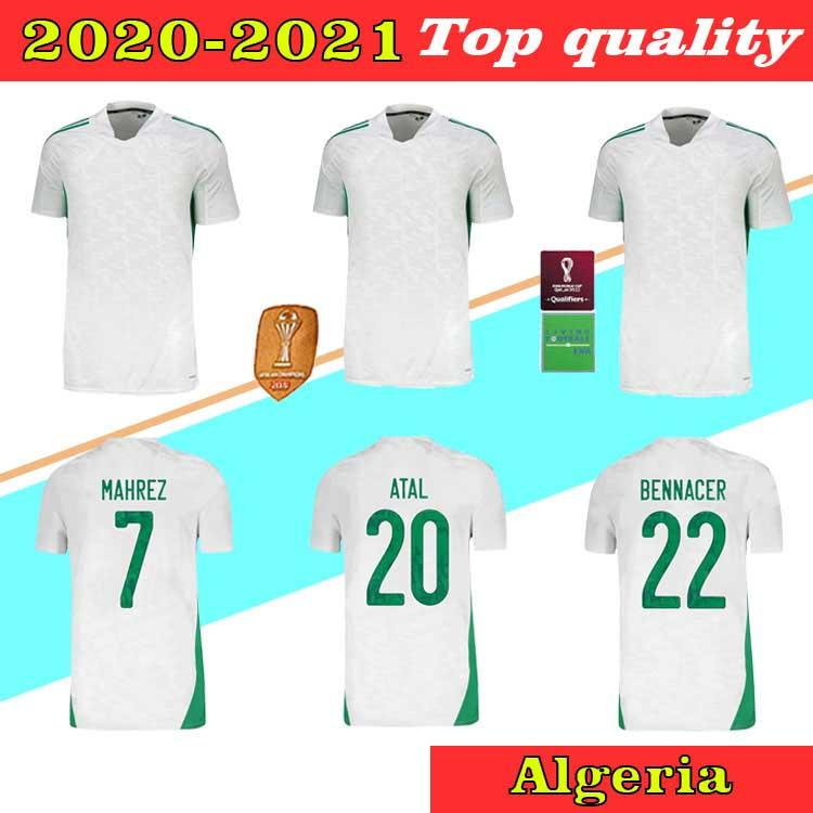 20 21 21 جماهير الجزائر S-XXL Soccer Jerseys 2 Star Fans Mahrez Bounedjah Bouazza 2021 Algeria Mailleot De Football Shir Men Kids Kits Offe