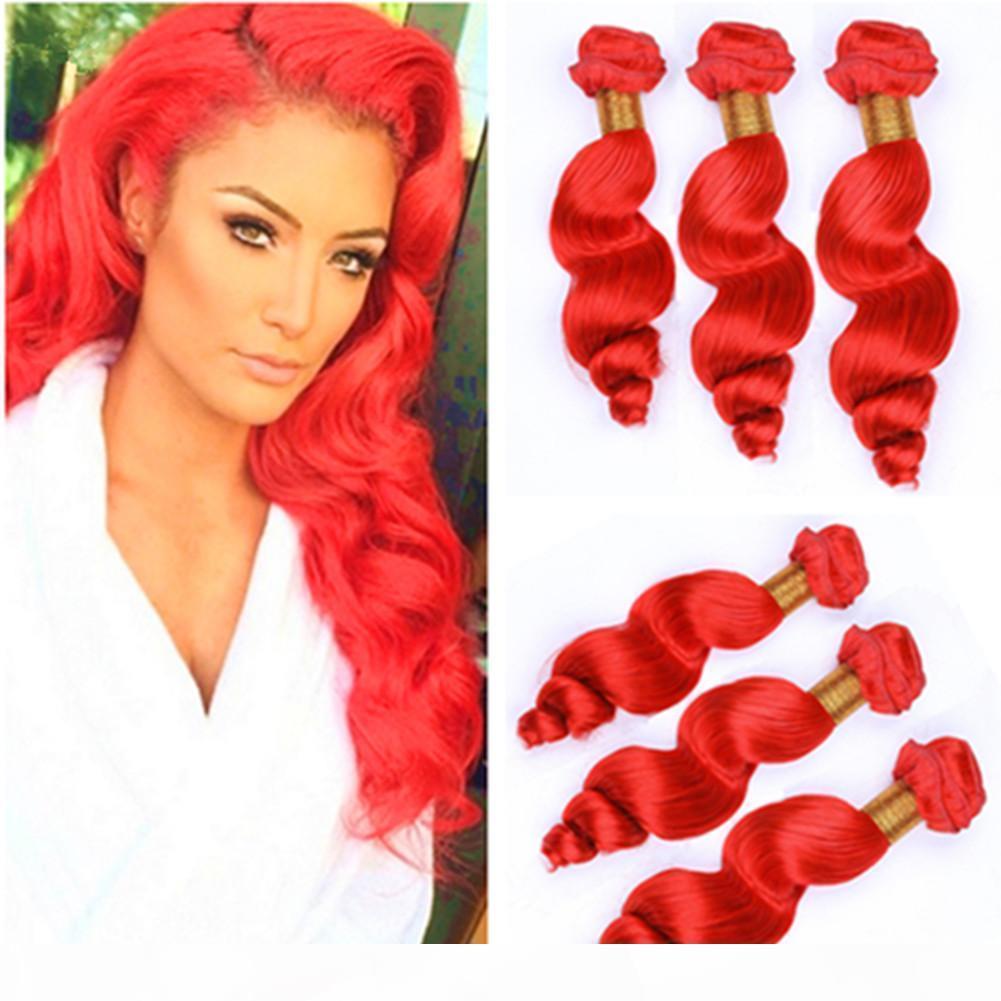 Virgin peruano cabello humano rojo rojo tejido de onda sueltos paquetes sueltos onda brillante color rojo virgen trama extensiones 3pcs mezclado longitud