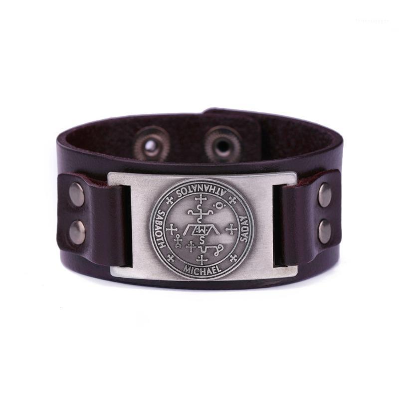 Tennis Dawapara Echtes Leder Armband gravierende Nachricht Saday Michael Sabaoth Athanatos Punk Übernatürliche männliche Geschenke1